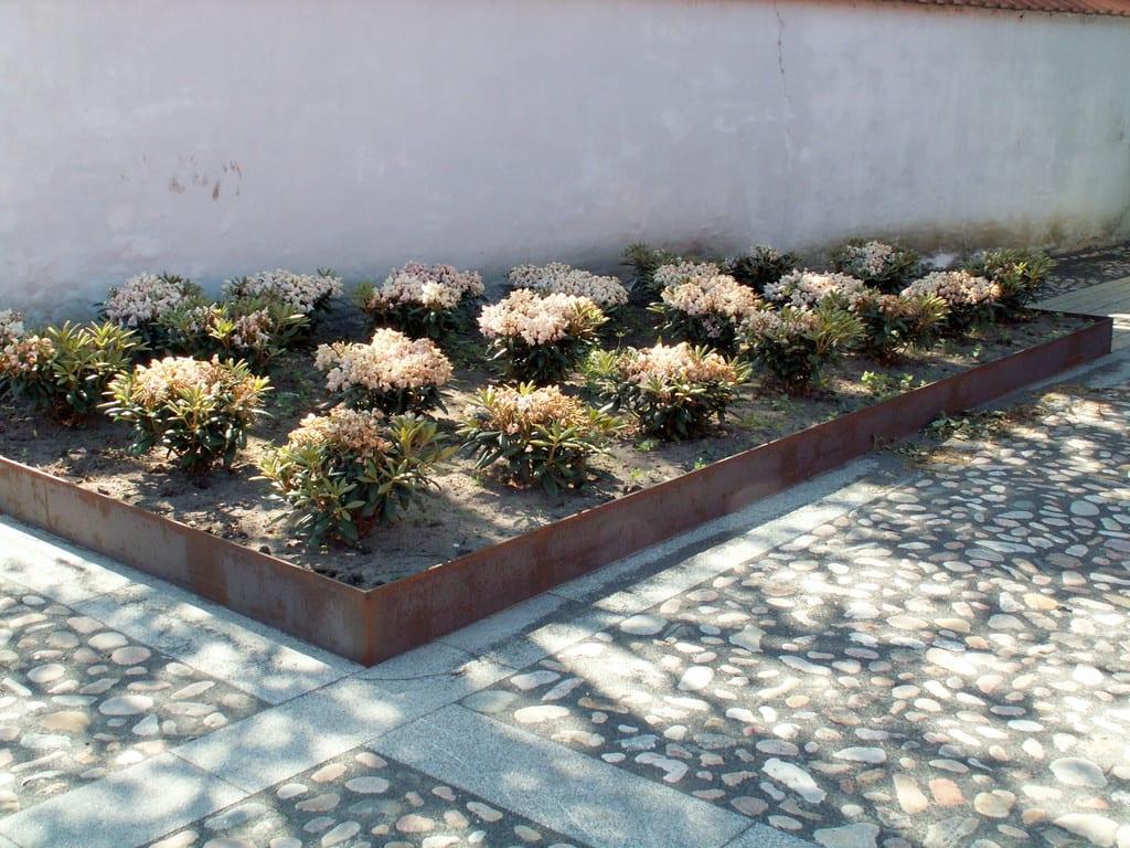 Rhododendron og pigstensbelægning