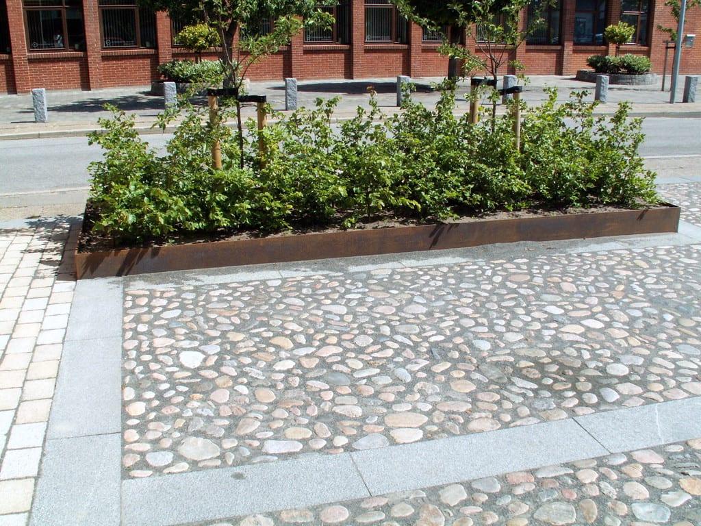 Granit fliser bord og pigstensbelægning