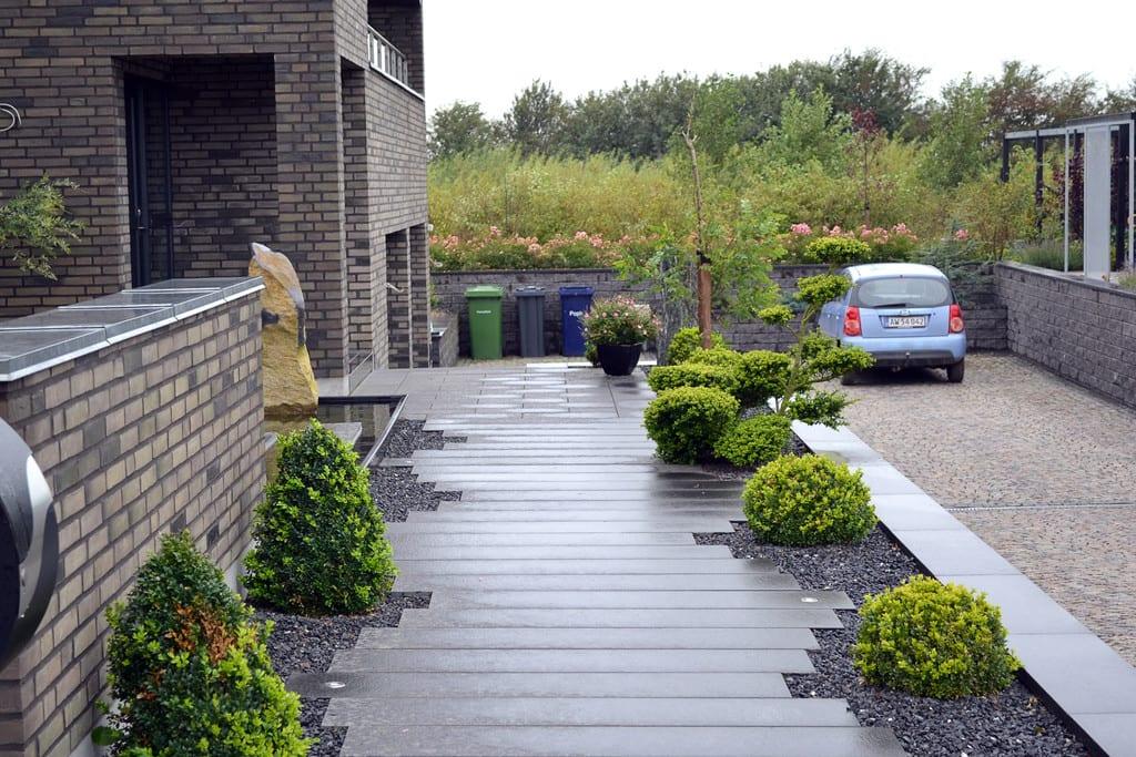 Stedsegrønne planter, granit bordurflise og sorte skærver