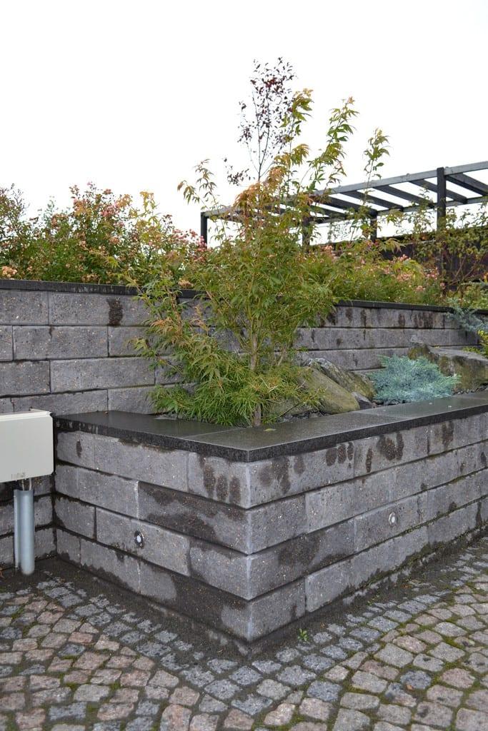 Støttemur af beton elementer