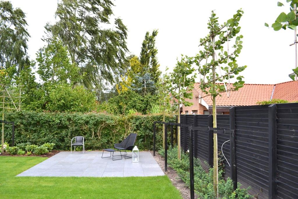 Træer med bunddækkende planter og terrasse med granit fliser