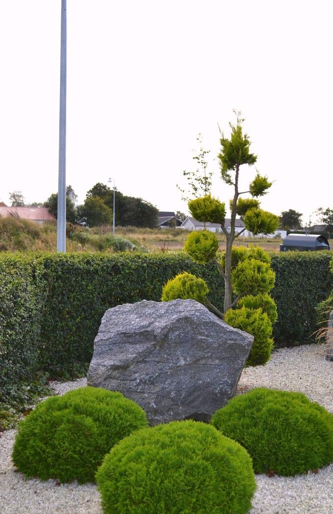 Haverum med skærver, pyntesten og beplantning