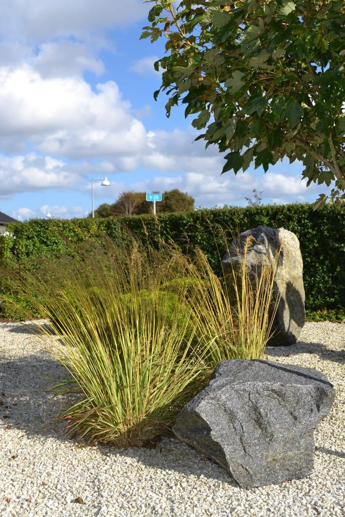 Skærver med granit pyntesten og prydgræsser
