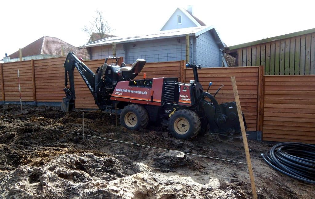 Havevanding, nedgravning af vandrør
